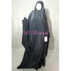 Jilbab Al Manassik 2 pièces gris anthracite avec pantalon (broquin)