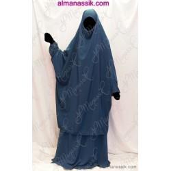 Jilbab al Manassik 2 pièces bleu pétrole (poignet blouson) avec jupe