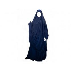 Jilbab Al Manassik 2 pièces (poignet blouson) Bleu Marine avec pantalon