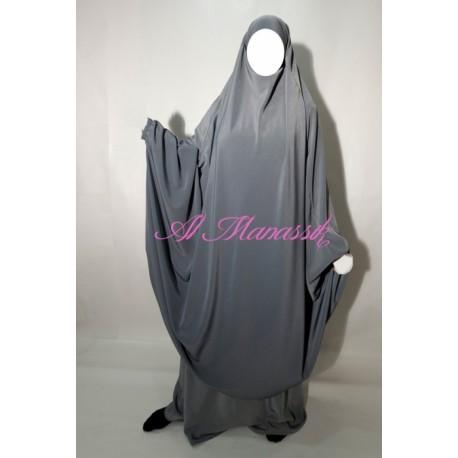Jilbab Al Manassik 2 pièces gris clair (poignet élastique) avec pantalon