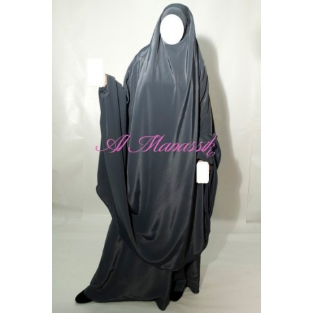 Jilbab al Manassik 2 pièces gris anthracite avec jupe
