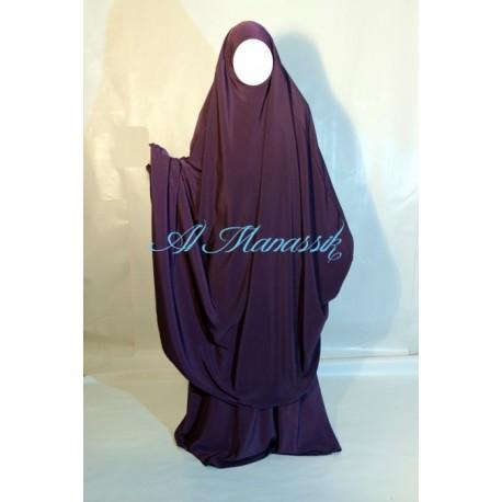 Jilbab Al Manassik 2 pièces prune avec jupe