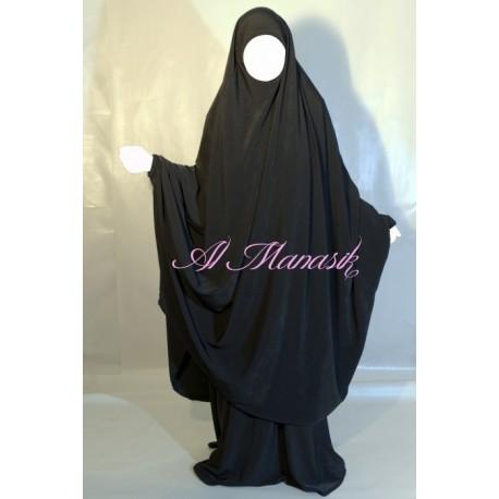 Jilbab Al Manassik 2 pièces marron chocolat avec pantalon