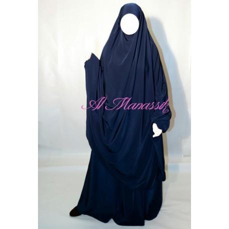 Jilbab al Manassik 2 pièces bleu marine avec pantalon (broquin)
