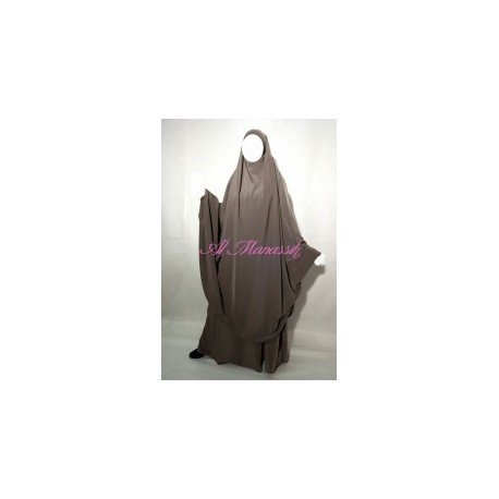 Jilbab Al Manassik 2 pièces taupe avec pantalon