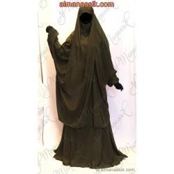 Jilbab Al Manassik 2 pièces vert millitaire (poignet blouson) avec jupe
