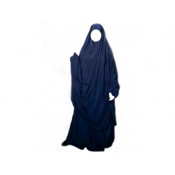 Jilbab Al Manassik 2 pièces Bleu Marine (poignet blouson) avec jupe